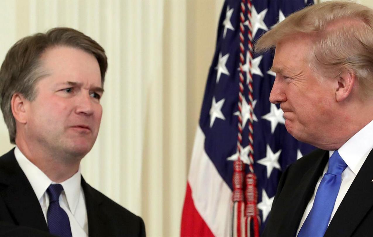 Pres. Trump squints at his SCOTUS nominee, Brett Kavanaugh